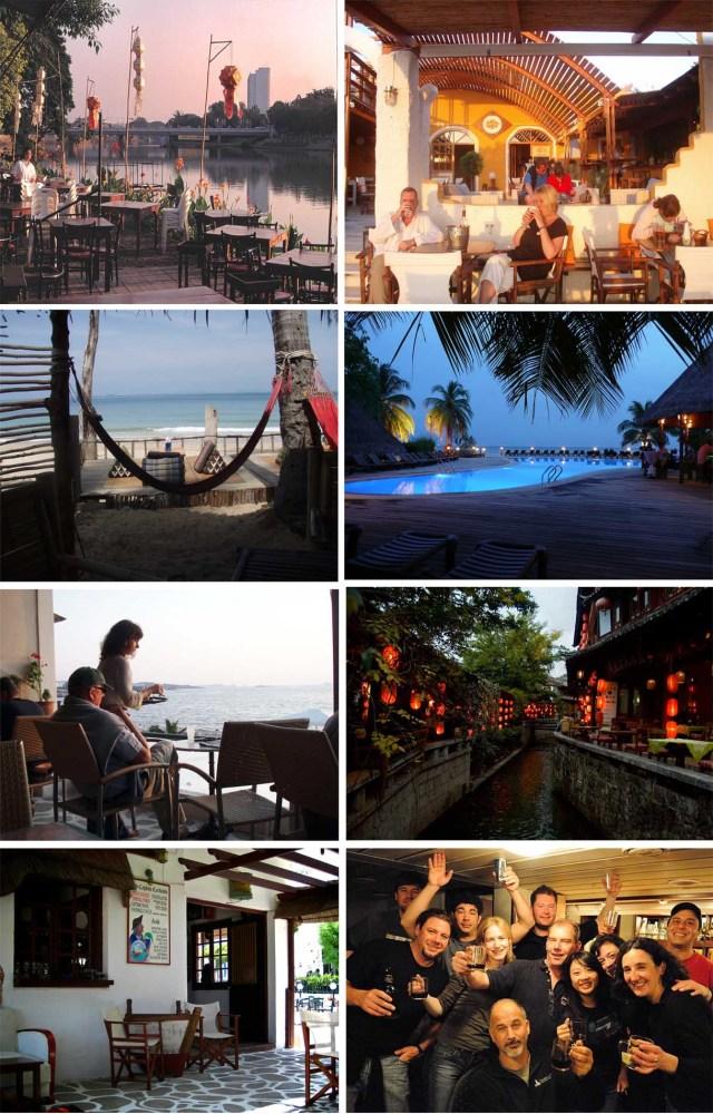 Uppifrån vänster. 1. Riverside i Chiang Mai. 2. Flisvos, Naxos. 3 Moonwalk bar, Koh Lanta. 4. Kuredu Pool bar, Maldiverna. 5. Pebbles, Paros. 6. Lijiang, Yunnan. 7. Old Captain, Sifnos och till sist party i baren på M/S Molchanov på väg tillbaka från Antarktis.