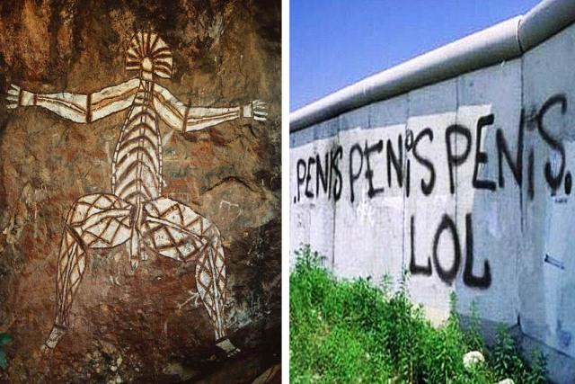 8.000 år gammal väggmålning och en från 2000-talet